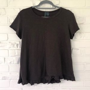Anthropologie Left of Center Ruffle Tee Size S